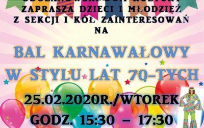 Bal karnawałowy w stylu lat 70-tych – zaproszenie